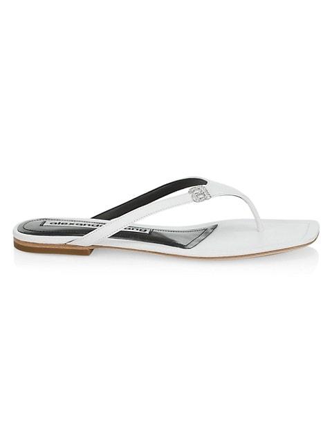Ivy Rhinestone Logo Leather Thong Sandals