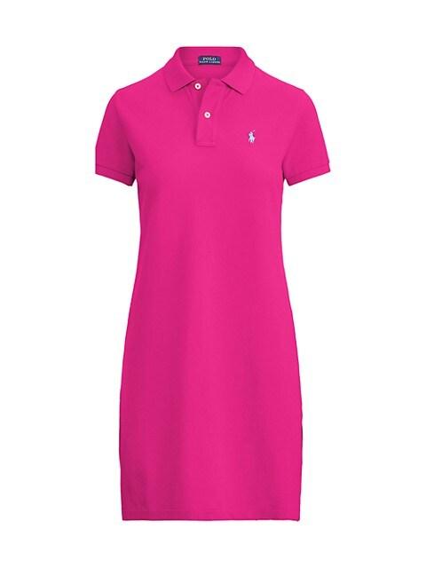 Cotton Mesh Short-Sleeve Polo Dress