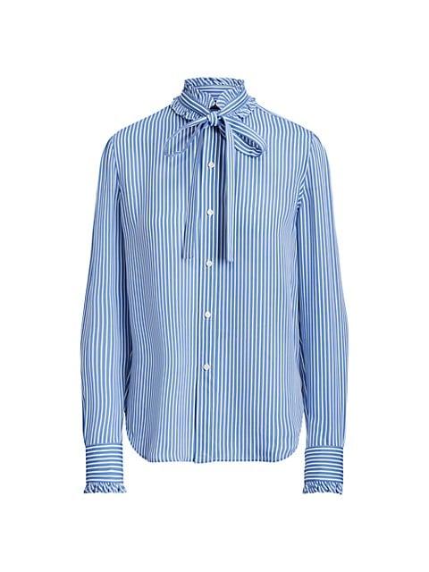 Striped Ruffle-Trim Silk Shirt
