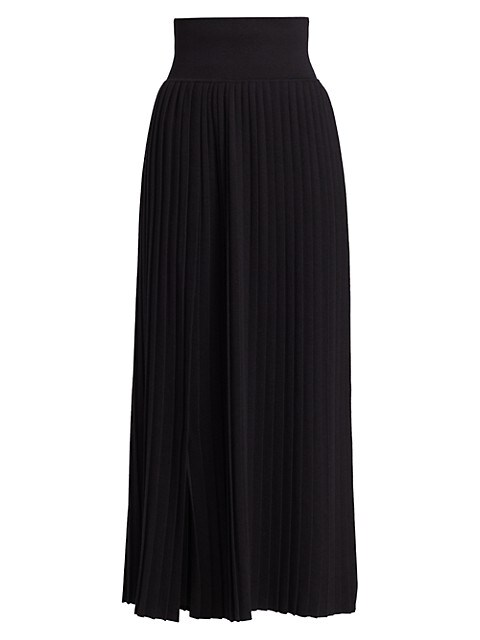Coraline Wool & Silk Pleated Midi Skirt