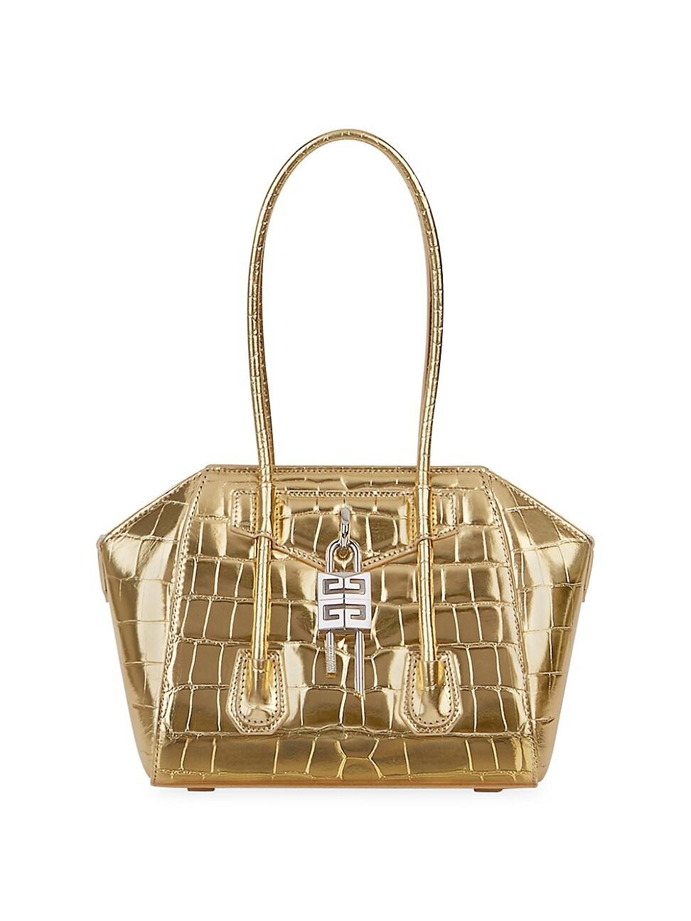 Givenchy Leathers WOMEN'S MINI ANTIGONA LOCK METALLIC CROC-EMBOSSED LEATHER SATCHEL