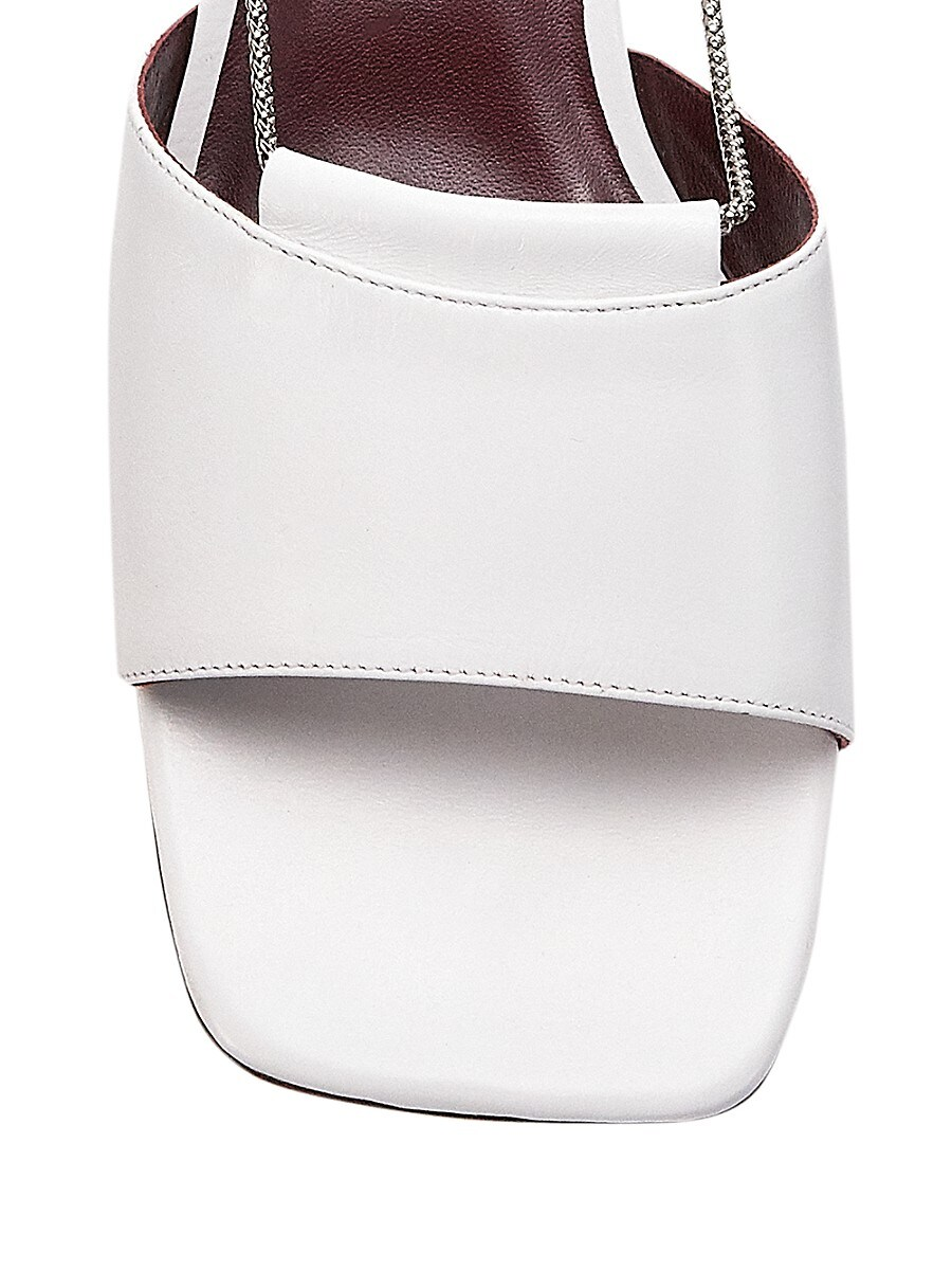 STAUD Leathers WOMEN'S LEAH CHAIN-TRIMMED LEATHER MULES