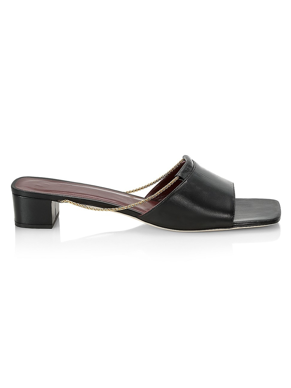 Staud WOMEN'S LEAH CHAIN-TRIMMED LEATHER MULES