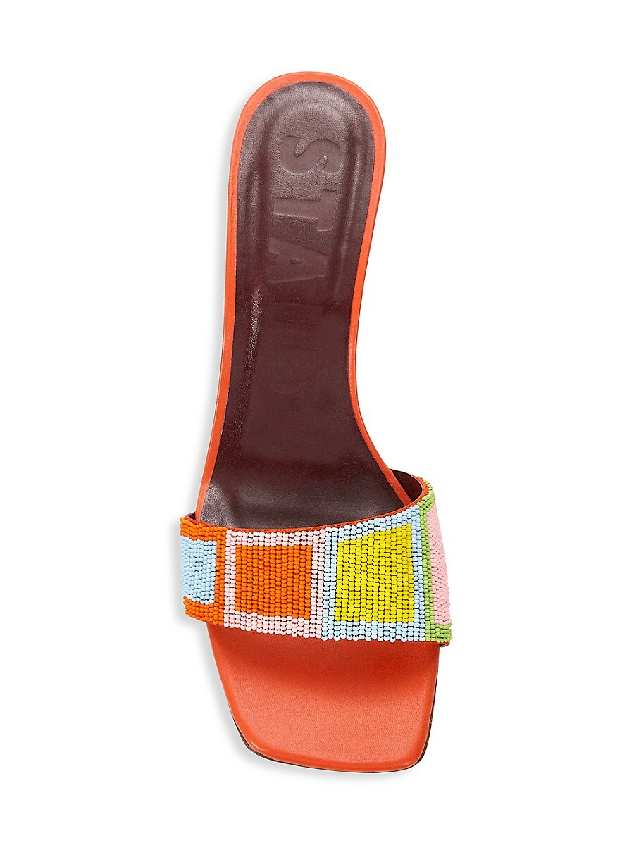 STAUD Leathers WOMEN'S BILLIE BEADED LEATHER WEDGE MULES