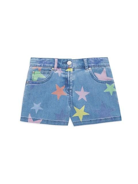 Little Girl's & Girl's Denim Star Shorts