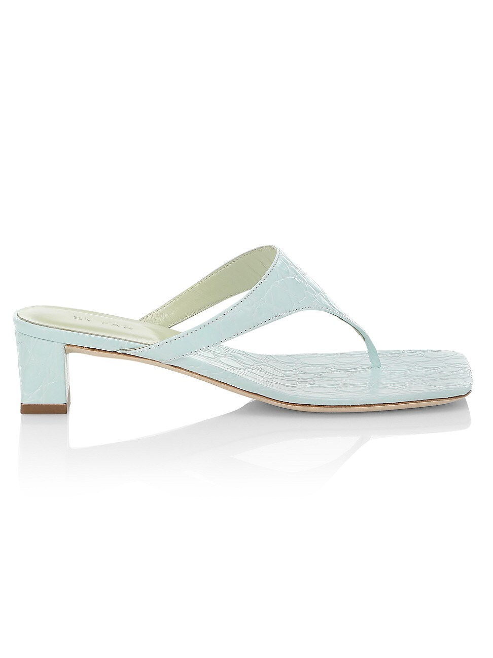 By Far WOMEN'S SHAWN CROC-EMBOSSED LEATHER THONG SANDALS