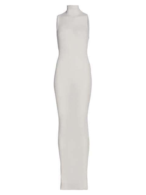 Mock Neck Silk Maxi Dress