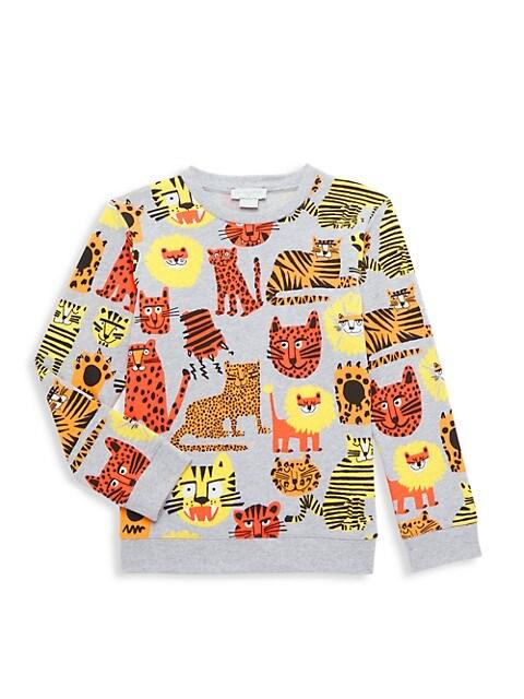 Little Boy's & Boy's All-Over Tiger Print Sweatshirt