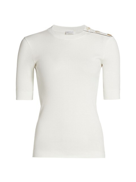 Button-Trimmed Rib-Knit Top