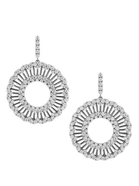 Svelte Rhodium-Plated & Cubic Zirconia Open Drop Earrings