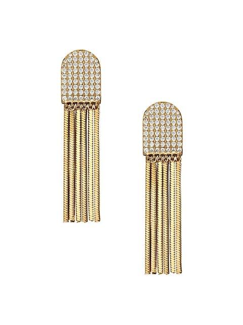 Svelte Rhodium-Plated Cubic Zirconia Fringe Huggie Earrings