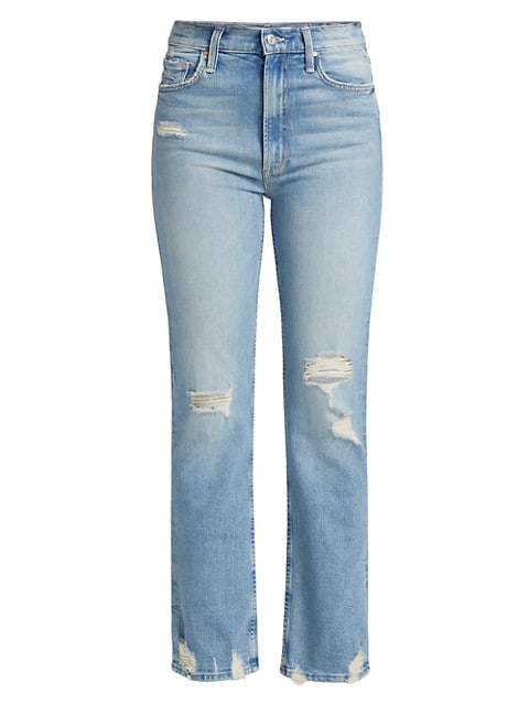 High-Waisted Rider Slim Distressed Jeans