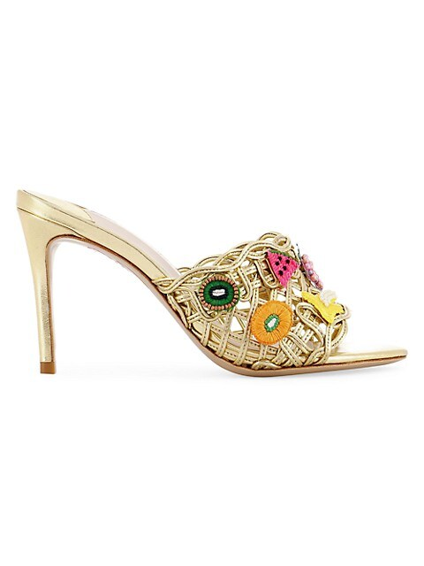 Delphine Furit-Embroidered Mid Block Mule Sandals