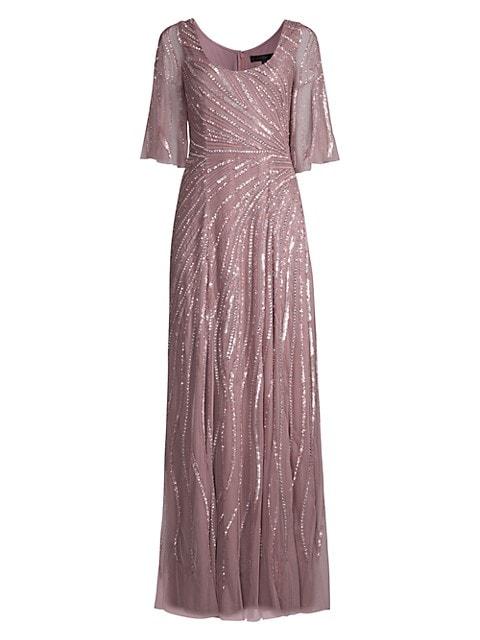 Beaded Flutter-Sleeve Gown
