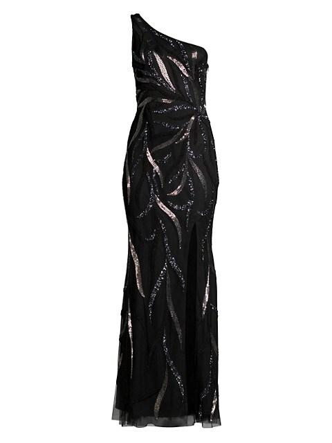One-Shoulder Beaded Slit Gown