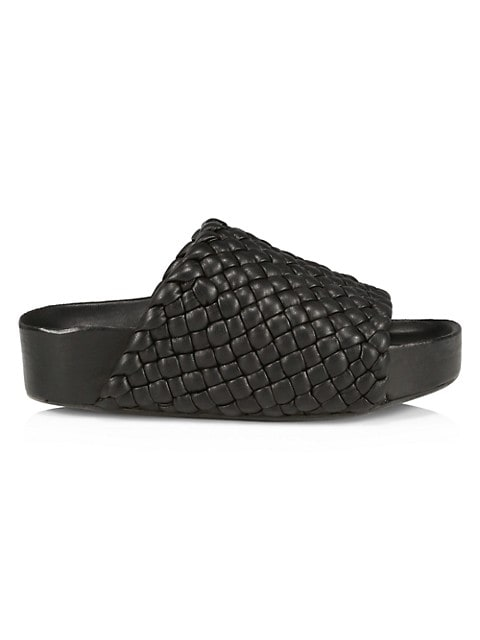 Dip Vegan Woven Leather Platform Slides