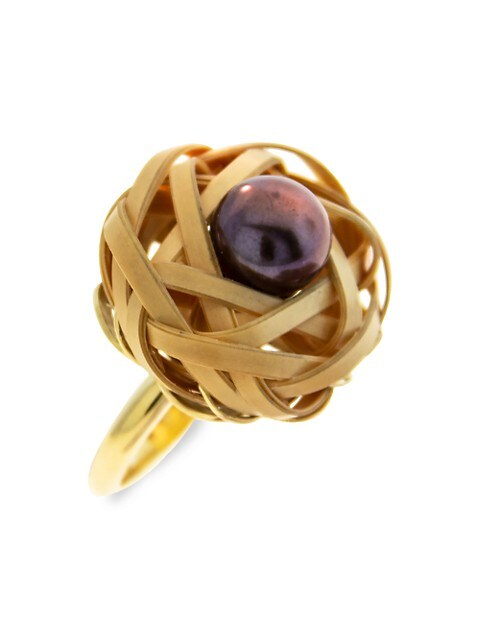 Bamboo 18K Yellow Gold & 10MM Black Pearl Woven Bamboo Ring