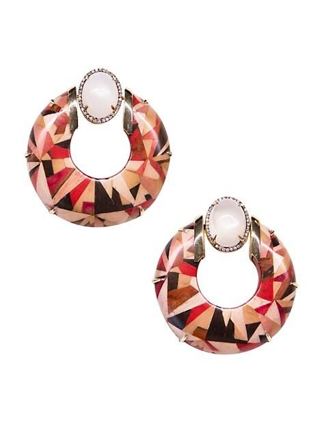 Marquetry 18K Yellow Gold, Moonstone, Diamond & Wood Geometric Hoop Earrings