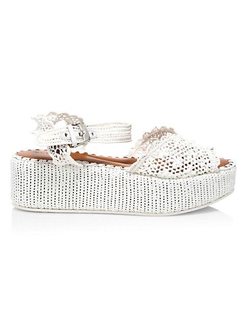 Aimie Raffia Platform Wedge Sandals