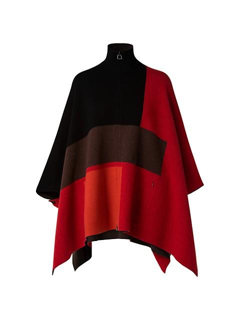 Colorblock Cashmere Reversible Cape