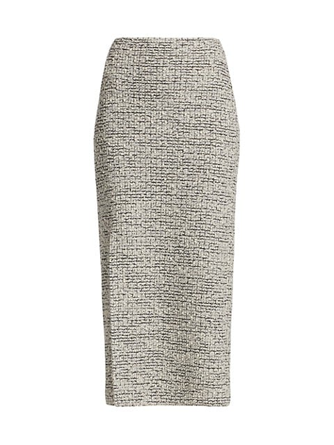 Bouclé Knit Slit Pencil Skirt