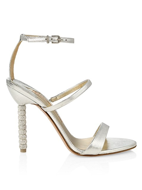 Rosalind Embellished-Heel Metallic Leather Sandals