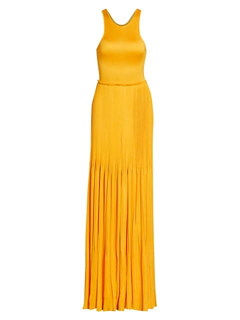 Sleeveless Accordion Plissé Knit Gown