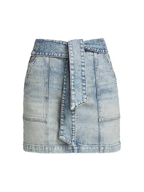 Kennie Tie-Waist Denim Mini Skirt
