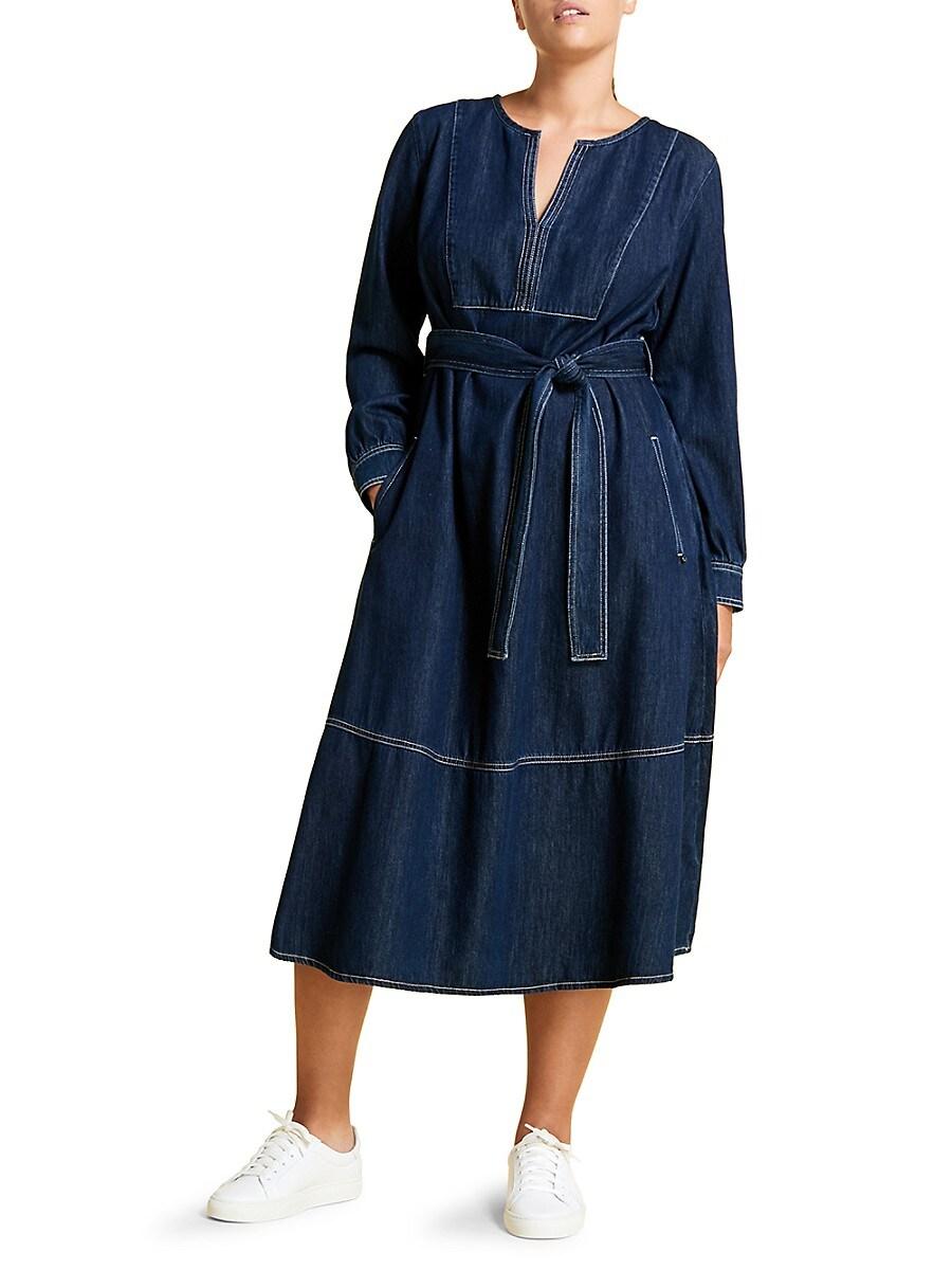 MARINA RINALDI Denims WOMEN'S MARINA SPORT TIE DENIM DRESS