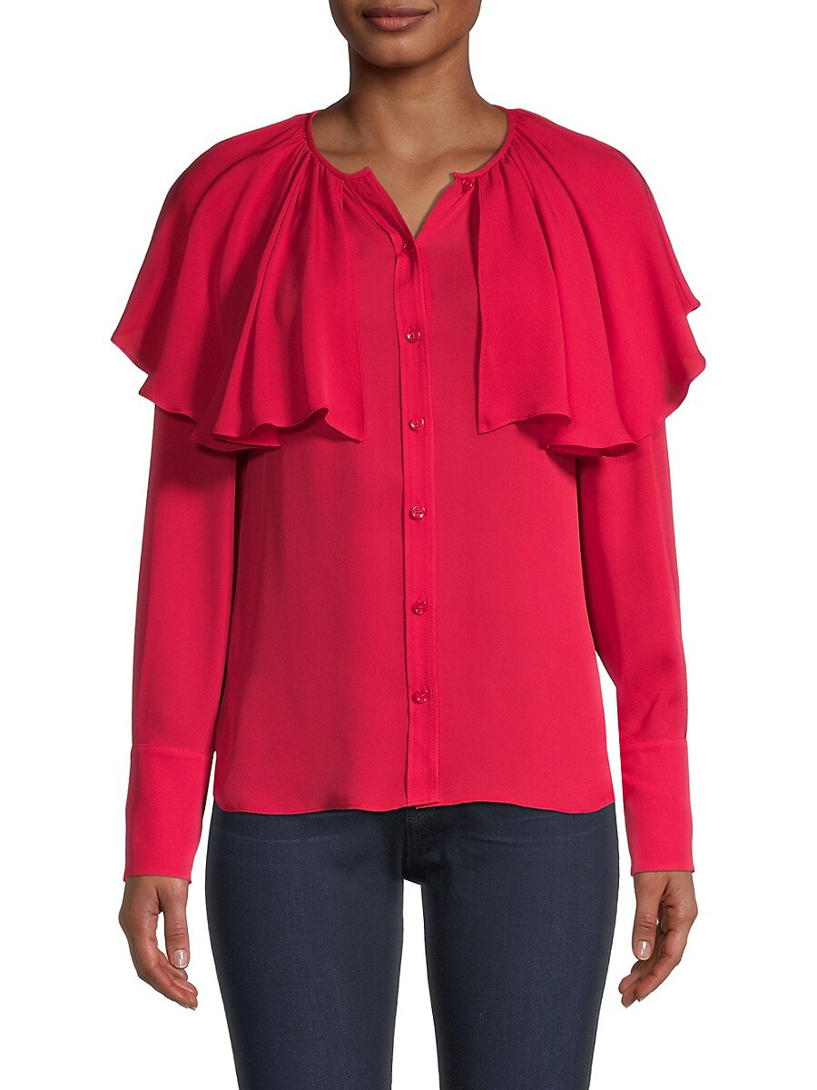 REBECCA TAYLOR Silks WOMEN'S TIER RUFFLE GEORGETTE SILK BLOUSE