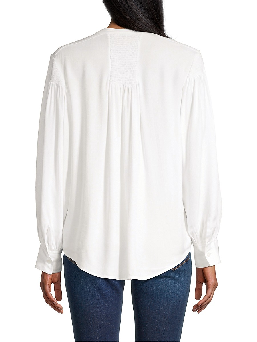 REBECCA TAYLOR Cottons WOMEN'S TWILL SMOCKED BUTTON-UP BLOUSE