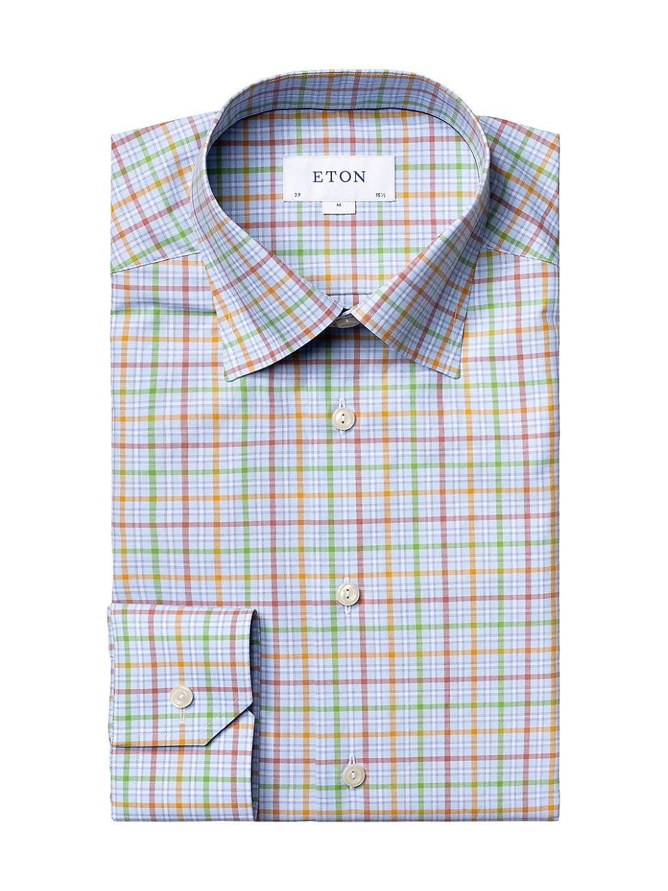 Eton MEN'S CONTEMPORARY-FIT WINDOWPANE PLAID DRESS SHIRT