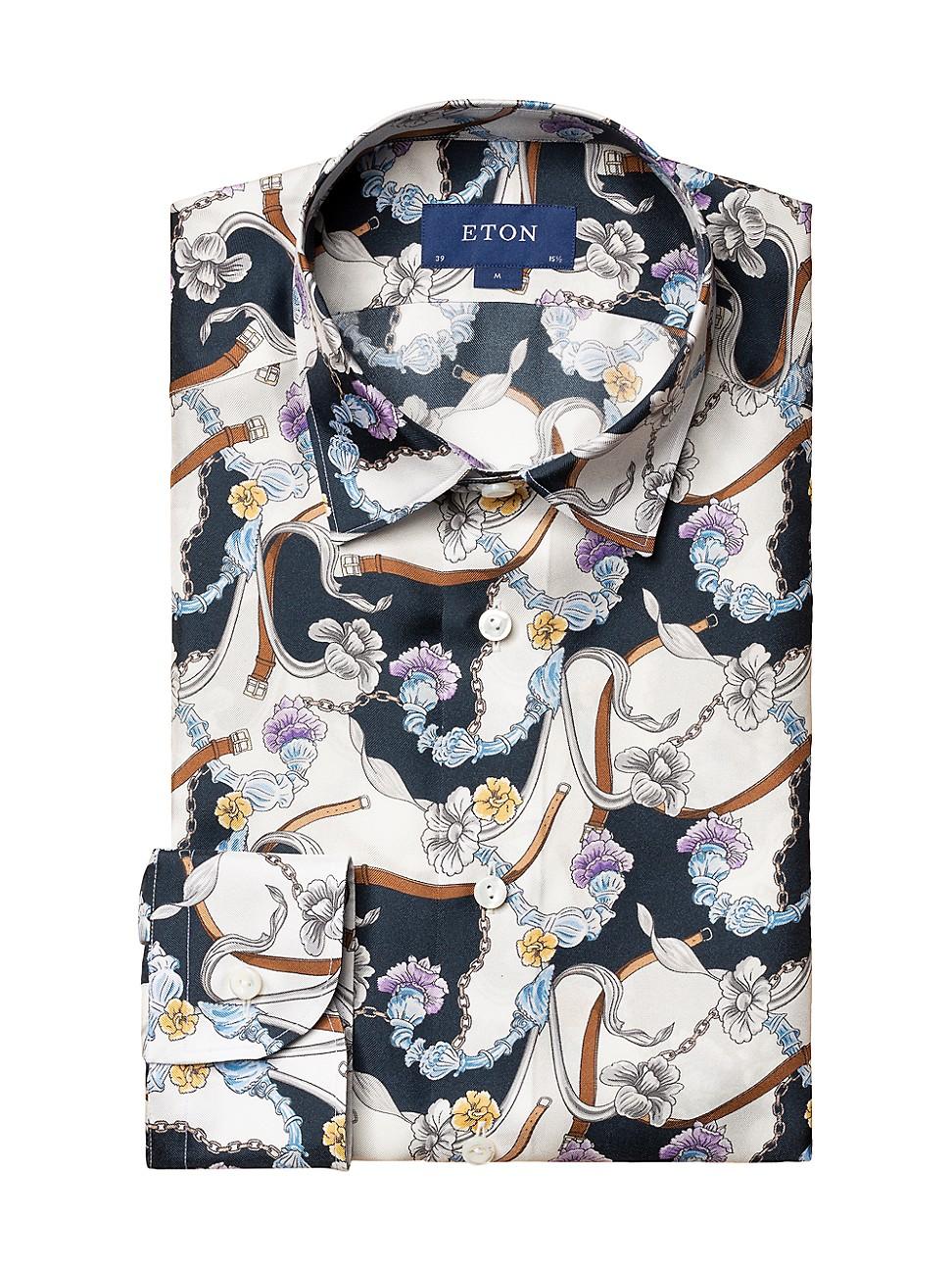 Eton MEN'S CONTEMPORARY-FIT PRINTED DRESS SHIRT