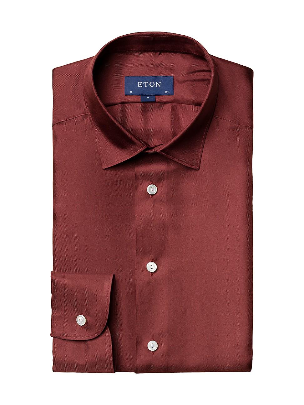 Eton MEN'S SLIM-FIT TEXTURED SOLID DRESS SHIRT