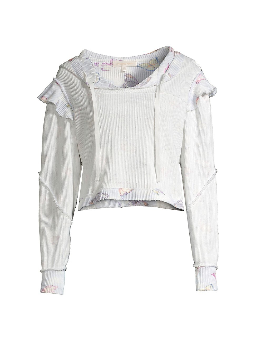 Loveshackfancy WOMEN'S CIEL RUFFLE COTTON HOODIE