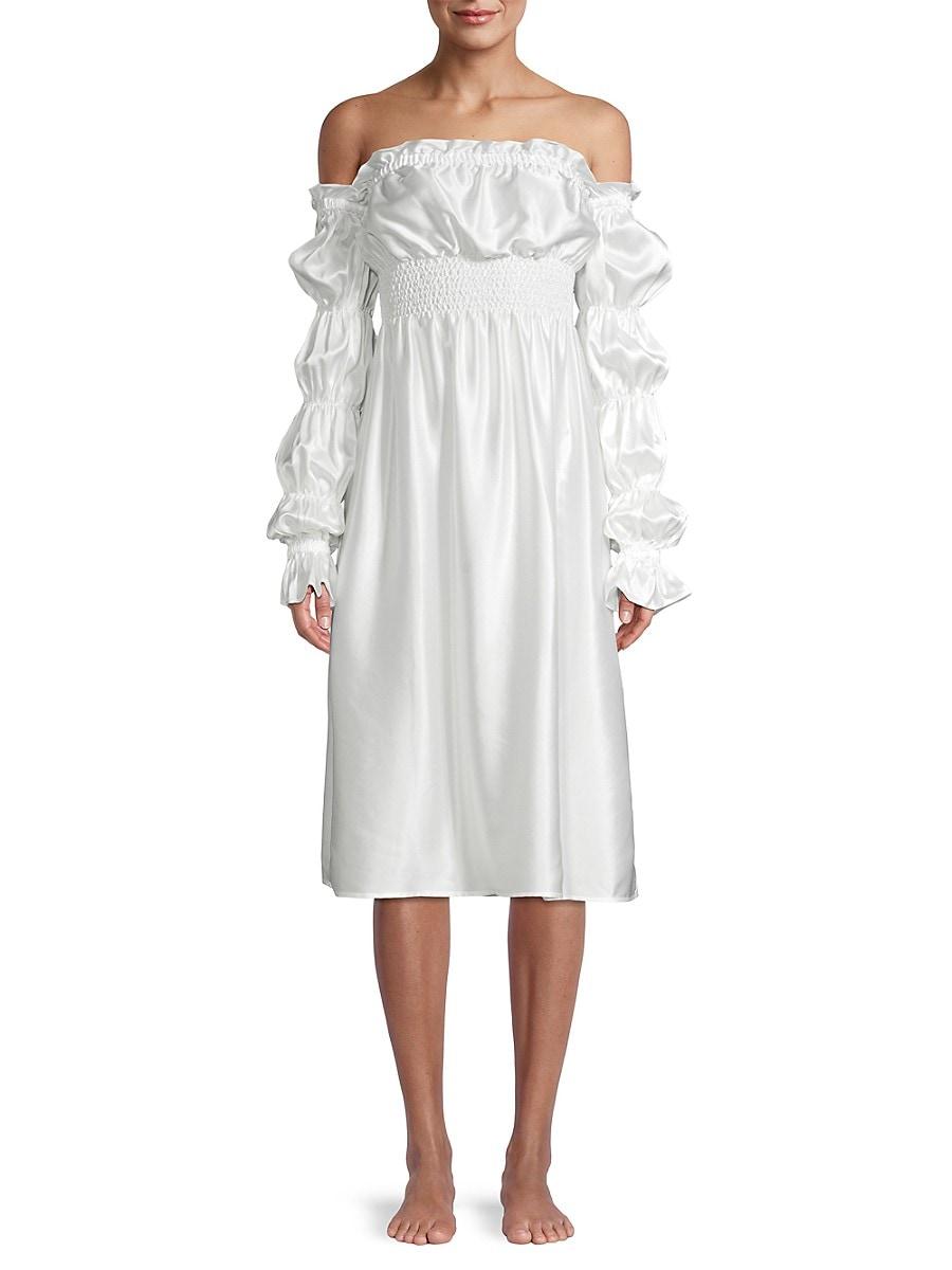 SLEEPER Silks WOMEN'S MICHELIN OFF-THE-SHOULDER SILK DRESS