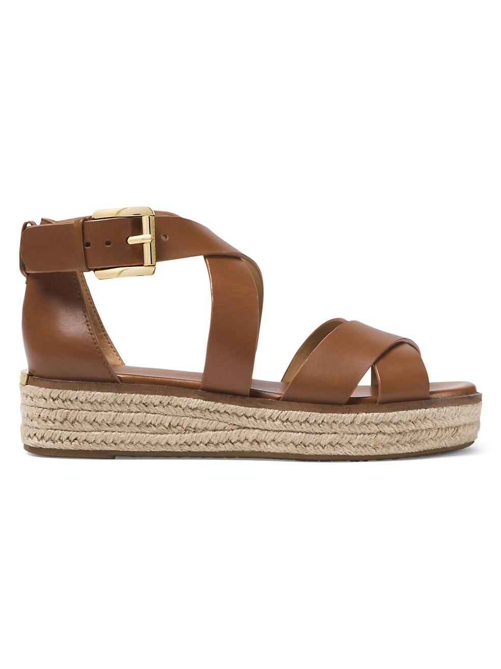마이클 코어스 Michael Kors Darby Leather Espadrille Platform Sandals,LUGGAGE