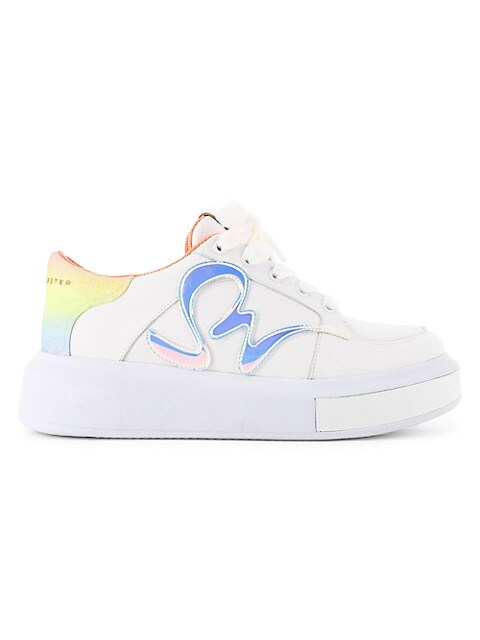 Swalk Iridescent Leather Platform Sneakers