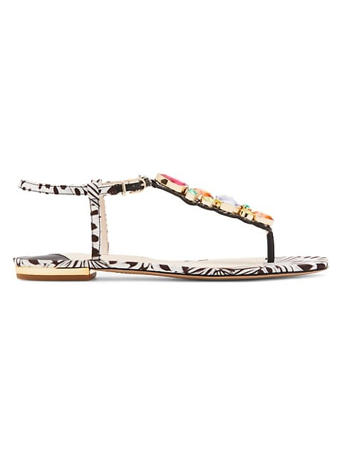Ritzy Embellished Butterfly-Print Thong Sandals