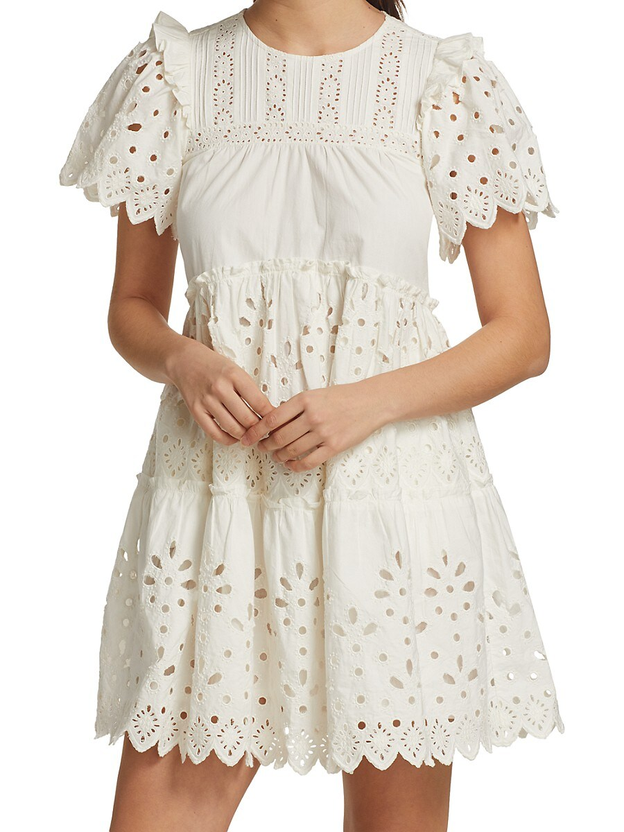 SEA Cottons WOMEN'S EYELET TIERED MINI DRESS