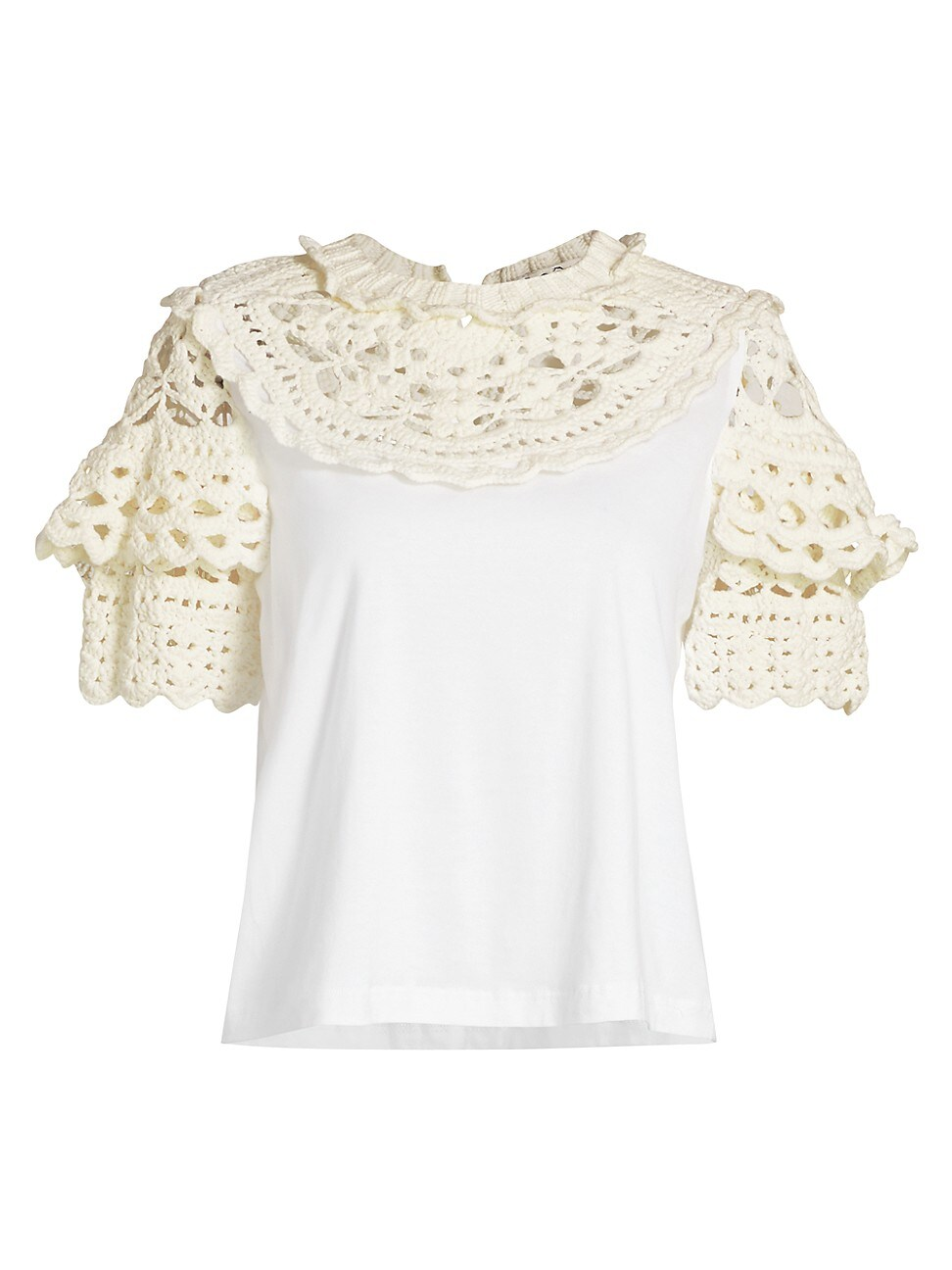 Sea WOMEN'S CLEO CROCHET PUFF-SLEEVE COMBO T-SHIRT