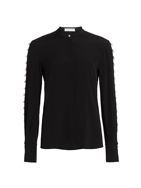 Oleana Faux-Pearl Button Sleeve Top