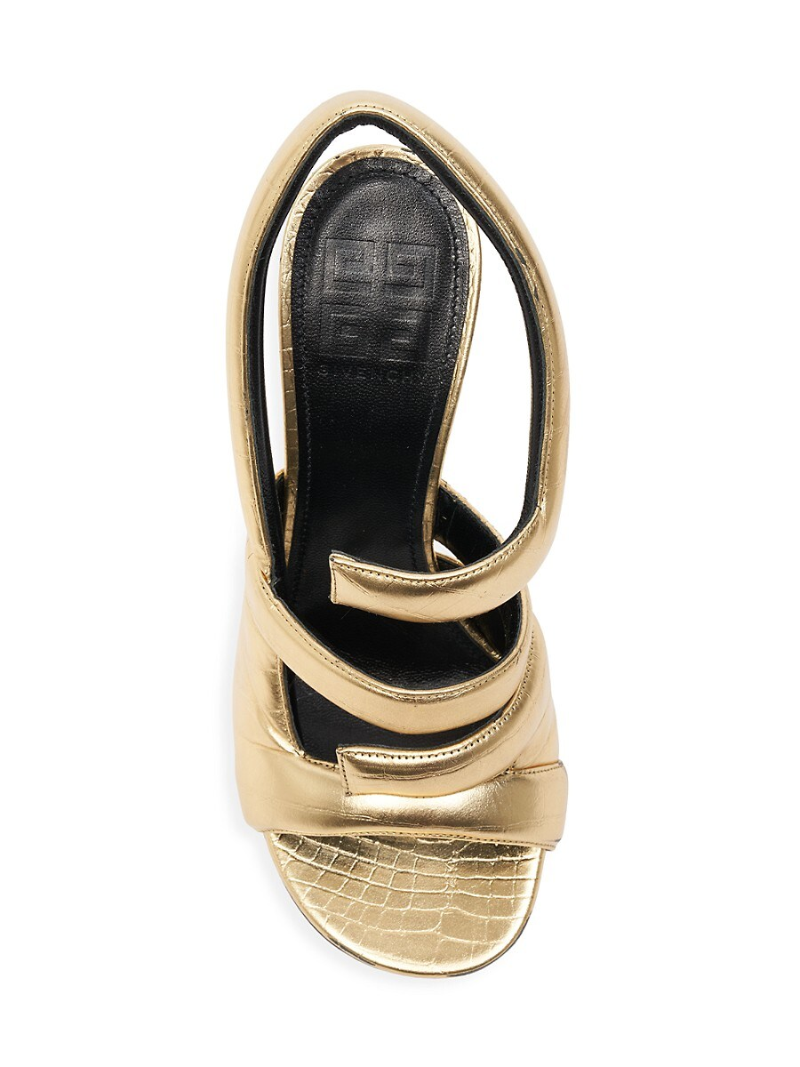 GIVENCHY Leathers WOMEN'S HORN METALLIC LEATHER SLINGBACK SANDALS