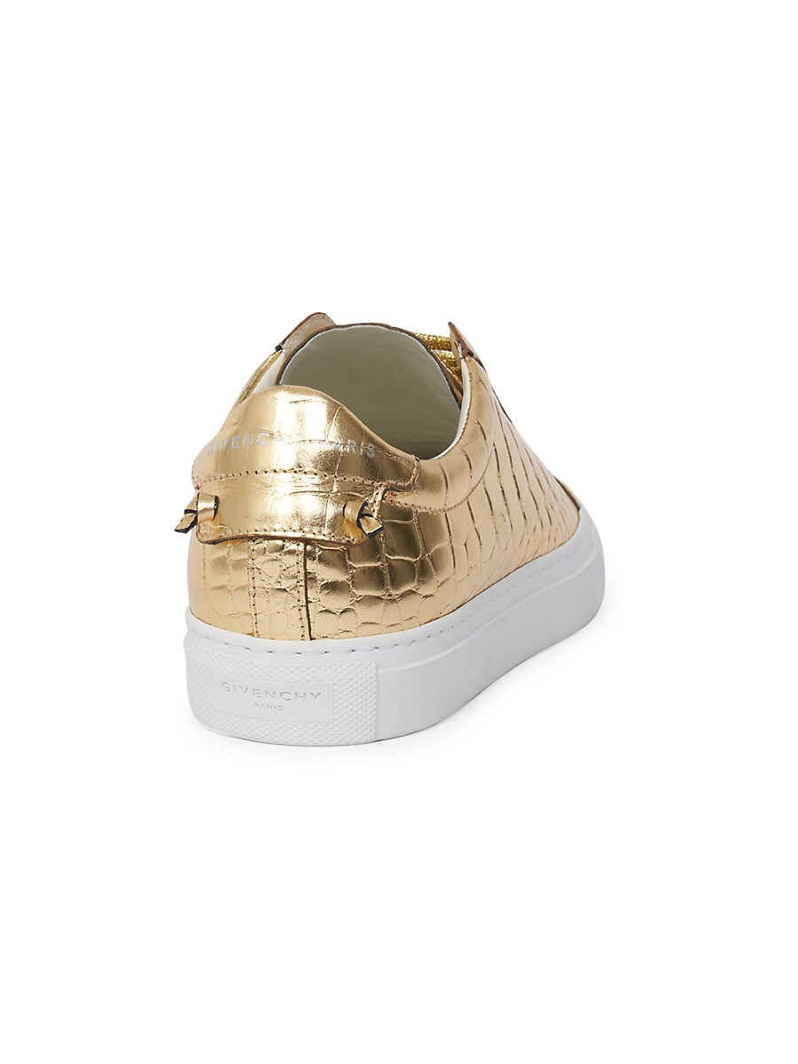 GIVENCHY Leathers WOMEN'S URBAN STREET METALLIC CROC-EMBOSSED LEATHER SNEAKERS