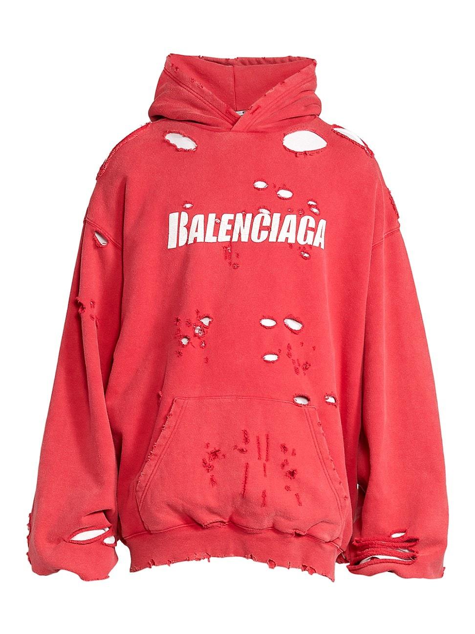 Balenciaga Hoodies MEN'S DESTROYED LOGO HOODIE