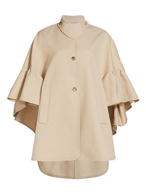 Derris Ruffle-Sleeve Cape Jacket