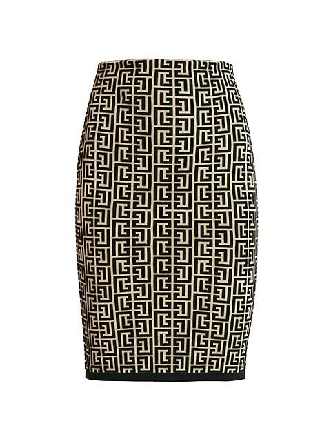 Monogram Jacquard Bodycon Skirt