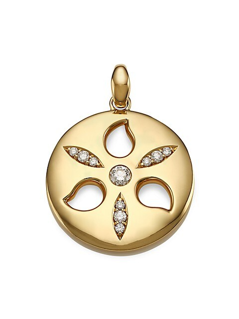 Signature 18K Yellow Gold & Diamond Large Sand Dollar Pendant