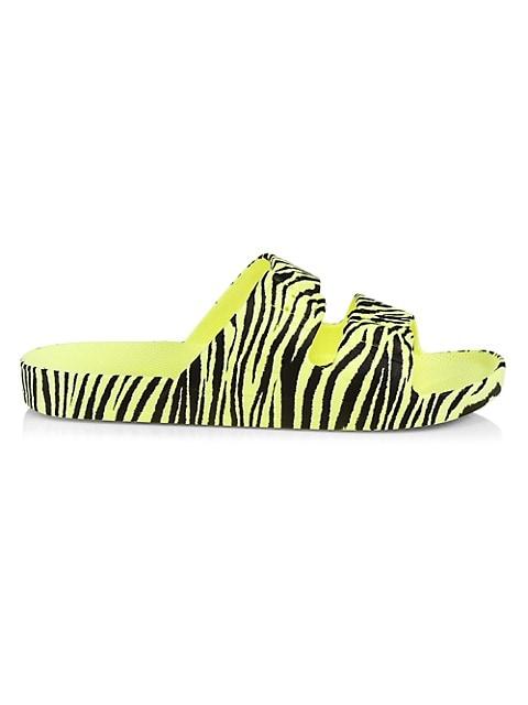 Zebra Two-Band Slide Sandals