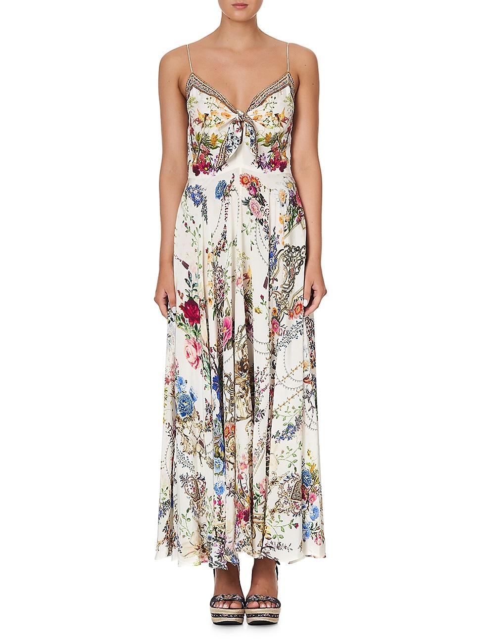 Camilla WOMEN'S TIE-FRONT FLORAL SILK MAXI DRESS